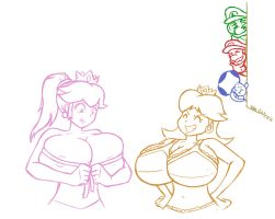 Request 21 Peach and Daisy Sizing up by Oda-Lee