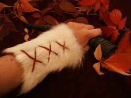 Warrior Queen White Wolf Arm Bracers by Featherologist