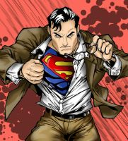 Superman Lineart: Colored by VickiBeWicked