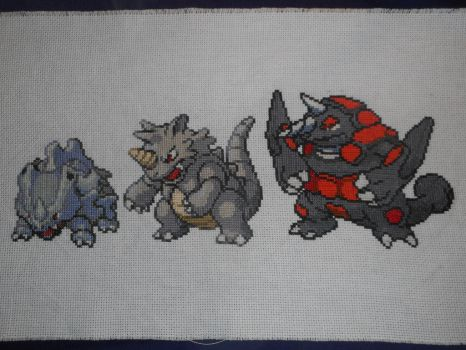Cross-stitched Rhyhorn Family by Midnightfables