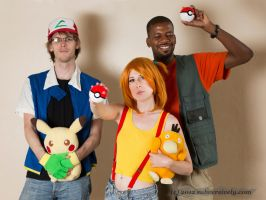 Ash, Misty and Brock, Pokemon by Alanaowlet