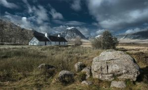 a lonely house on a background highlands by AlexGutkin