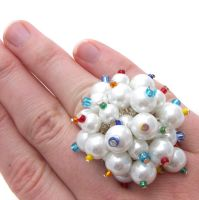 White + Rainbow Pearl Ring by fairy-cakes