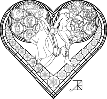 Stained Glass Coloring Page: Frosted Love by Akili-Amethyst