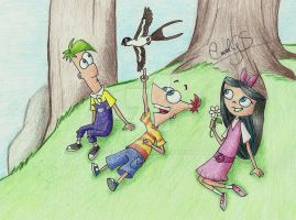 :Ferb, Phineas and Isabella: by CarolGS