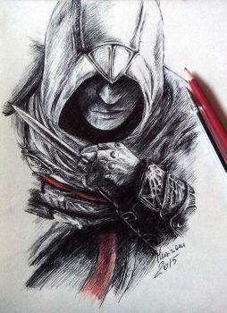 Altair Ibn La'Ahad - ballpoint pen and red pencil by Musiriam