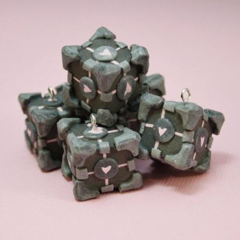 Polymer Clay Companion Cubes by Blind-Leviathan