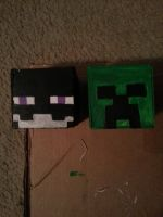 Enderman and Creeper Ornament by FluffytheElite2