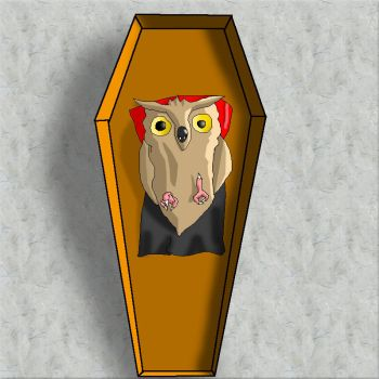 Vampire owl in the coffin by Rastrelly