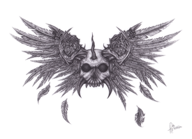 Request - Winged Skull with Horns by Omugai