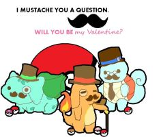 Pokemon Mustache Valentine. by trashboatt