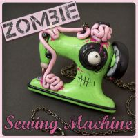 Green Zombie Sewing Machine Necklace by beatblack