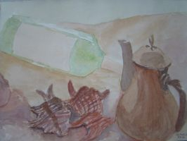 Wine Bottle, Shells and a Teapot by CARLisART