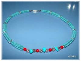 Turquoise-coral necklace by jasmin7
