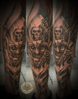 Demon face horror tattoo by 2Face-Tattoo