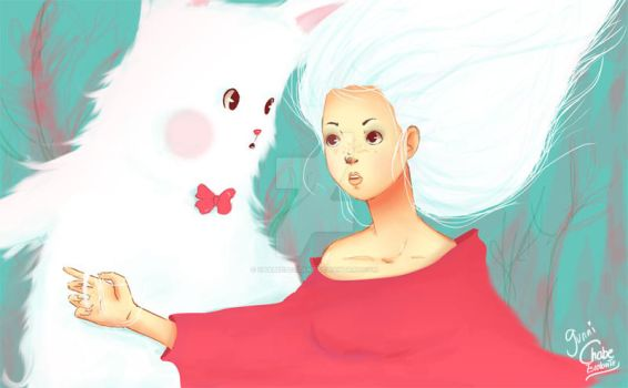 With the white Bunni by ChabeEscalant