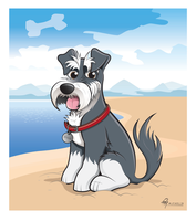 Schnauzer Caricature (Coloured with Background) by timmcfarlin