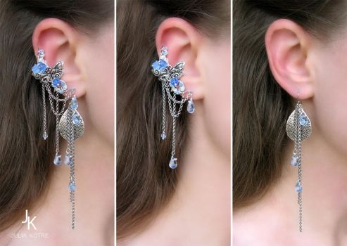 Ear cuff and long earrings Spring air by JuliaKotreJewelry