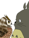 Totoro an Owl a colaboration with light-leckrerei by Emineitor
