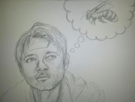Misha Collins Thinking About Bees by Natnie