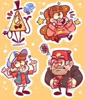 Gravity Falls Stickers by nightmaw