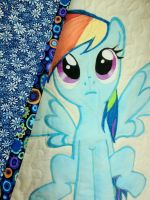 Rainbow Dash Quilt Detail by reluctantbrony