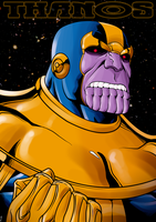 Thanos by dwaynebiddixart