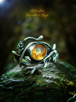The light of autumn silver ring by Gwillieth