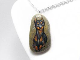 Doberman Pendant Necklace by sobeyondthis