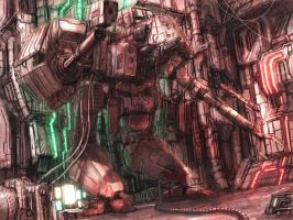 Mech Hangar by flyingdebris