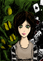 Alice and The Jabberwocky (Colored) by The-Other-User