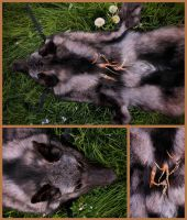 Custom Black Wolf Headdress Complete by NaturePunk