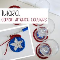 Tutorial: captain america crochet coaster by Ahookamigurumi