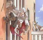 Ezio and a cat by Hinoe-0
