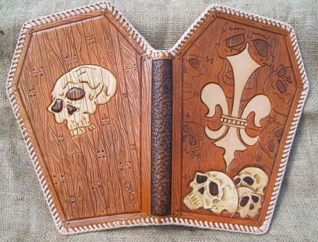 coffin notebook tooled by freakeaux