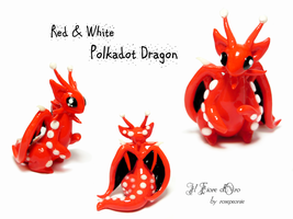 Red and white Polkadot dragon 2 by rosepeonie