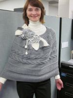 Handknitted Shawl  Cable Patterned  Capelet by MagicalString