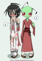 $Zim and Dib in Yukatas colord by Z-A-D-R