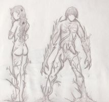 Male and Female Nymph concept (healer and warrior) by ADDaughtry
