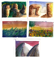 Watercolour landscape sketches by Yootah