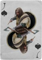Knight Playing card - Viking Beserker by EliteRocketbear
