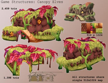 Game Model - Canopy Elf Houses by gronch