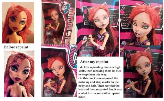 monster high Toralei repaint before and after by Cute-spider86
