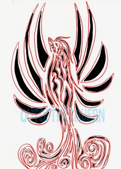 Phoenix tribal tattoo drawing by FromTheBatCave