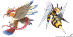 Mega Pidgeot - Mega Beedrill (official) by Tomycase