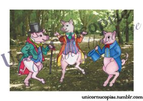 Three Little Pigs: Limited Edition Print by unicornucopiae