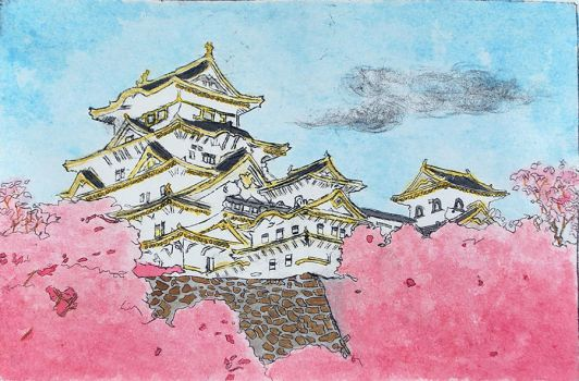 Painted Himeji Castle Print (2015) by christinak0811