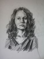 Portrait of a curly redhaired girl by Ninorabbi