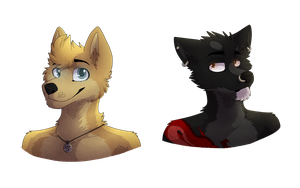 'A' and Kage headshots by Mana-ghostwolf