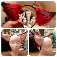 Red and black cosplay ears - fox wolf style by magpie89